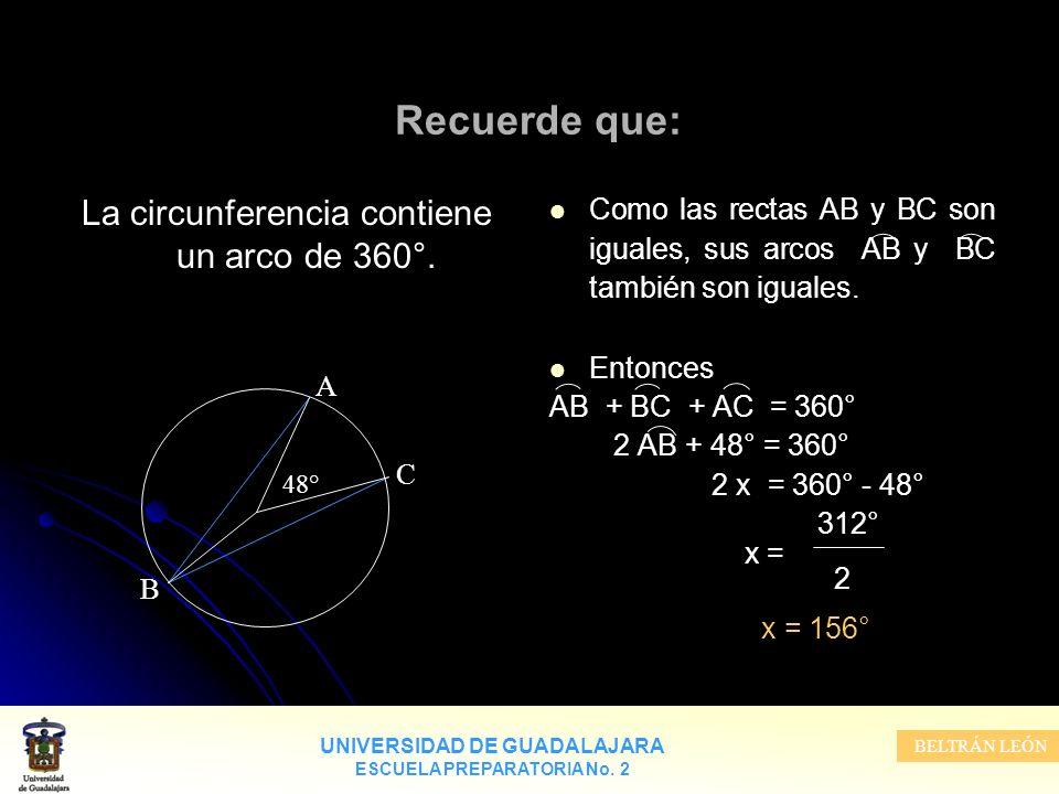 La circunferencia contiene un arco de 360°.