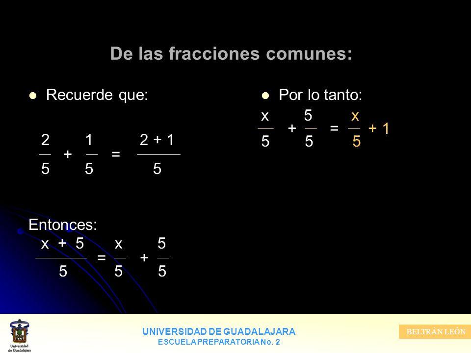 De las fracciones comunes: