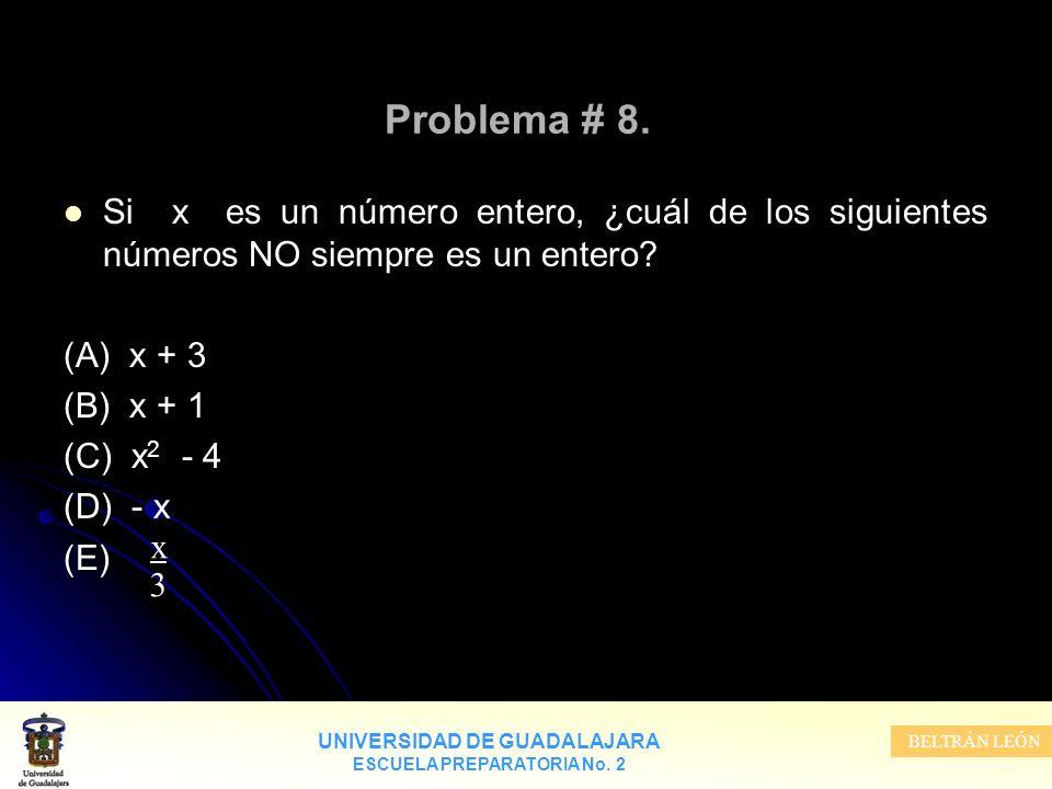 Problema # 8. Si x es un número entero, ¿cuál de los siguientes números NO siempre es un entero (A) x + 3.