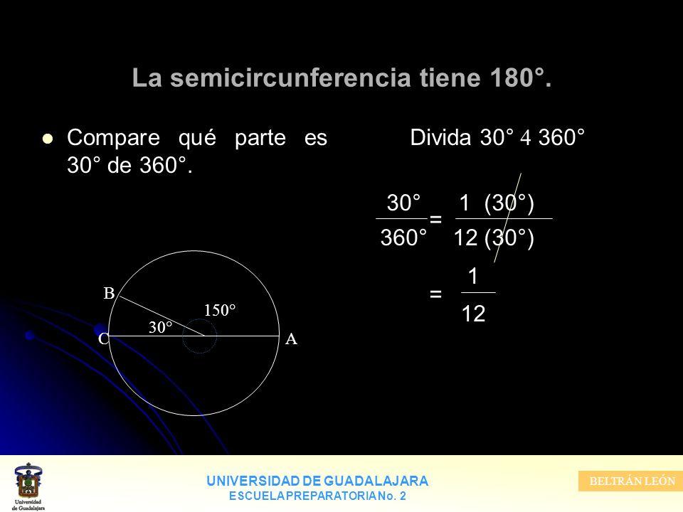 La semicircunferencia tiene 180°.