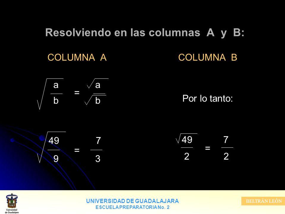 Resolviendo en las columnas A y B: