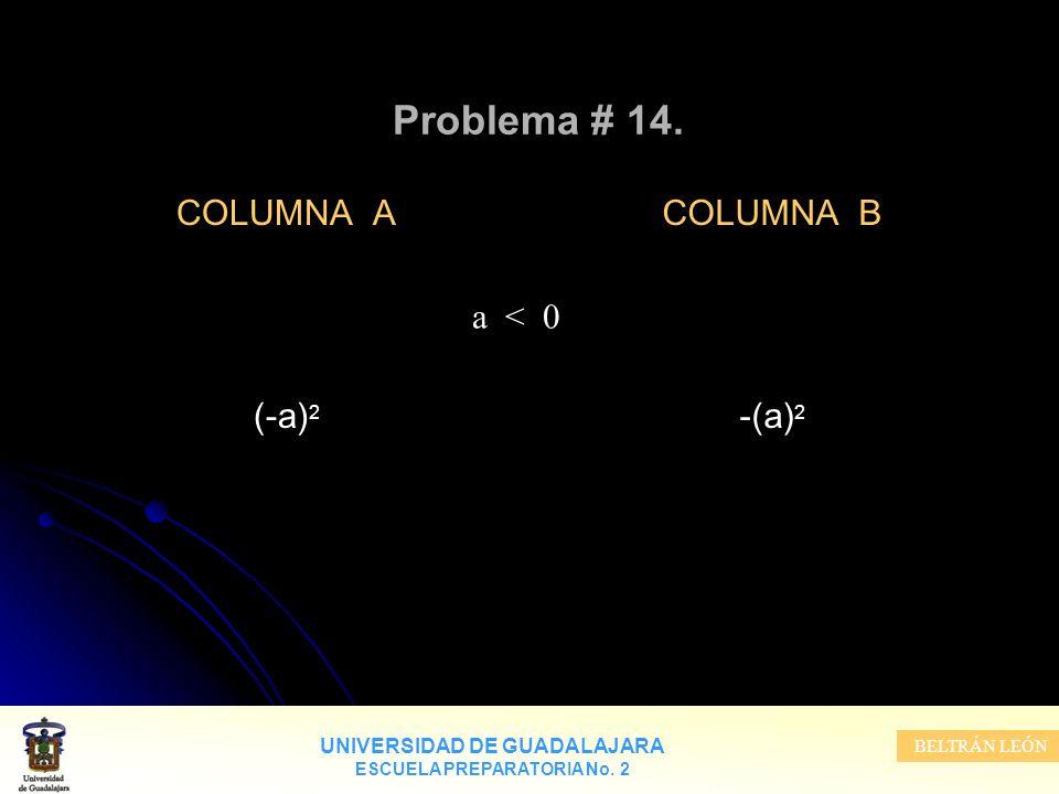 Problema # 14. COLUMNA A (-a)2 COLUMNA B -(a)2 a < 0
