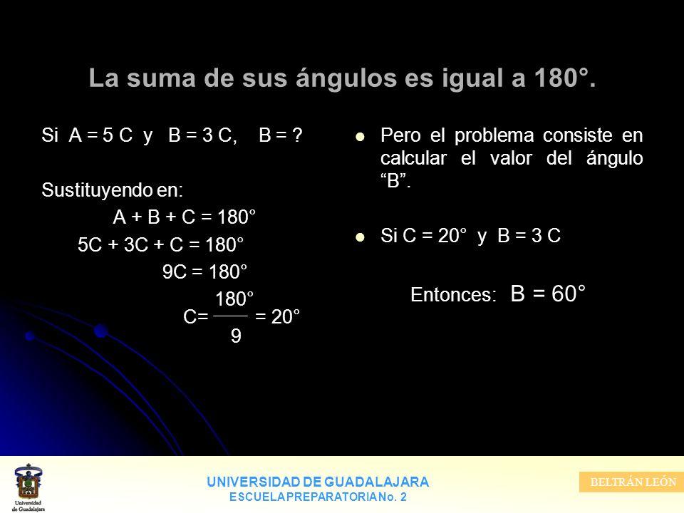 La suma de sus ángulos es igual a 180°.