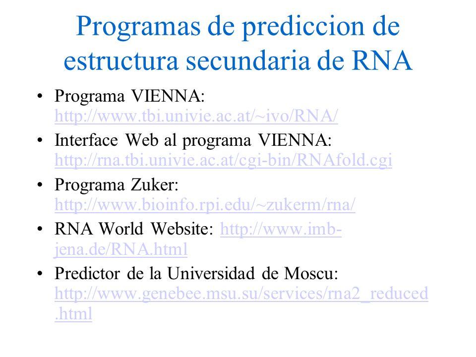 Programas de prediccion de estructura secundaria de RNA