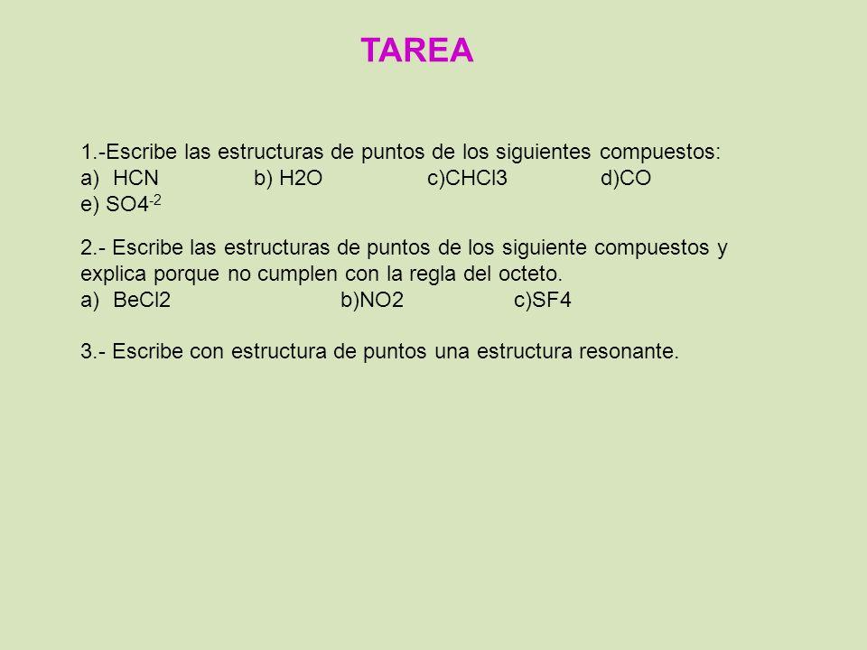 TAREA 1.-Escribe las estructuras de puntos de los siguientes compuestos: HCN b) H2O c)CHCl3 d)CO.