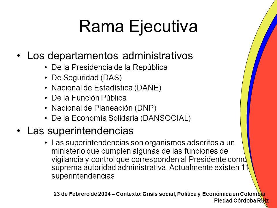 Rama Ejecutiva Los departamentos administrativos Las superintendencias