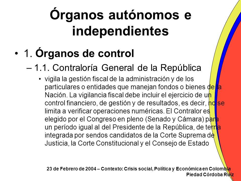 Órganos autónomos e independientes