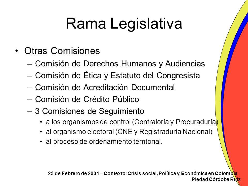Rama Legislativa Otras Comisiones