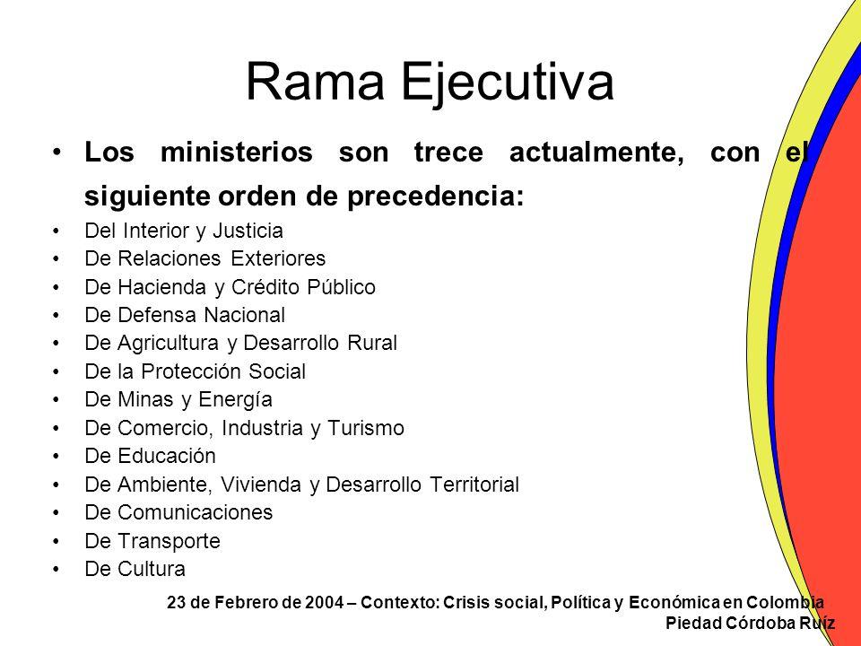 Rama Ejecutiva Los ministerios son trece actualmente, con el siguiente orden de precedencia: Del Interior y Justicia.