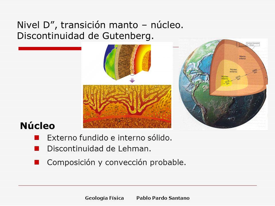 Nivel D , transición manto – núcleo. Discontinuidad de Gutenberg.