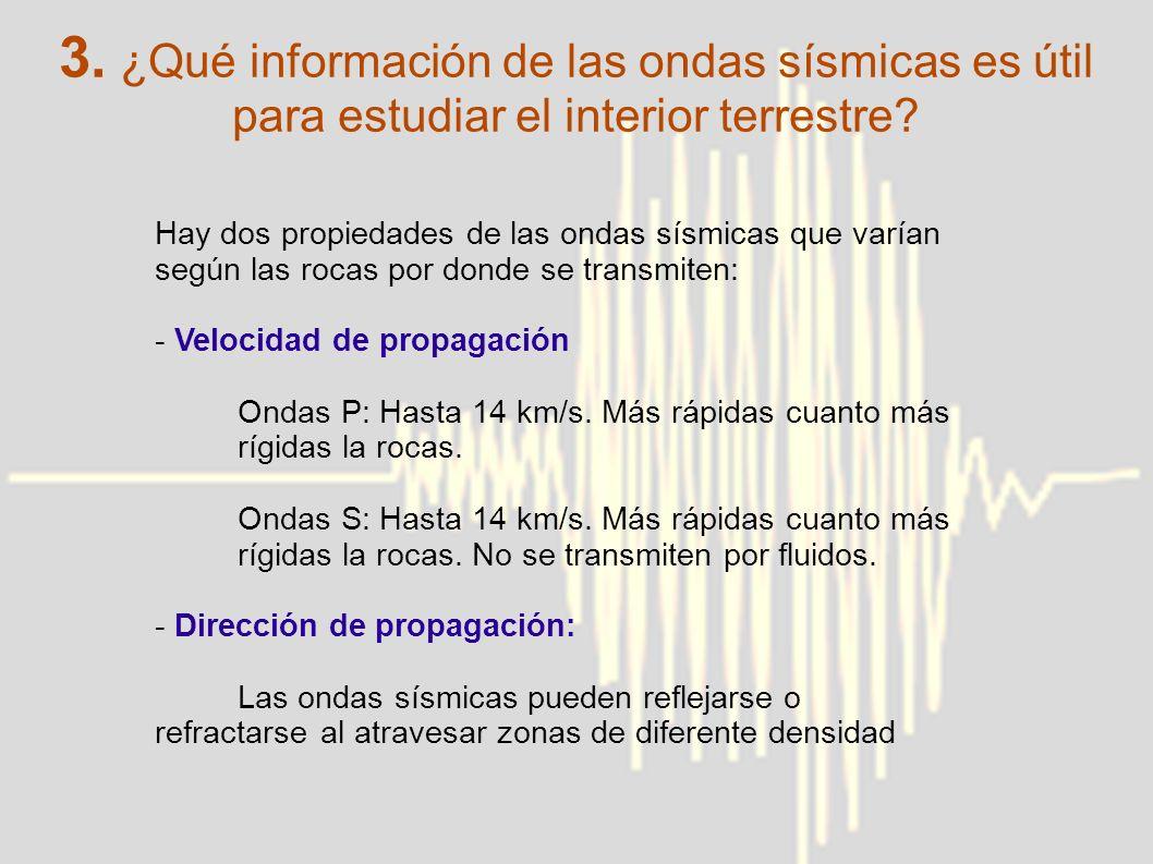 3. ¿Qué información de las ondas sísmicas es útil para estudiar el interior terrestre