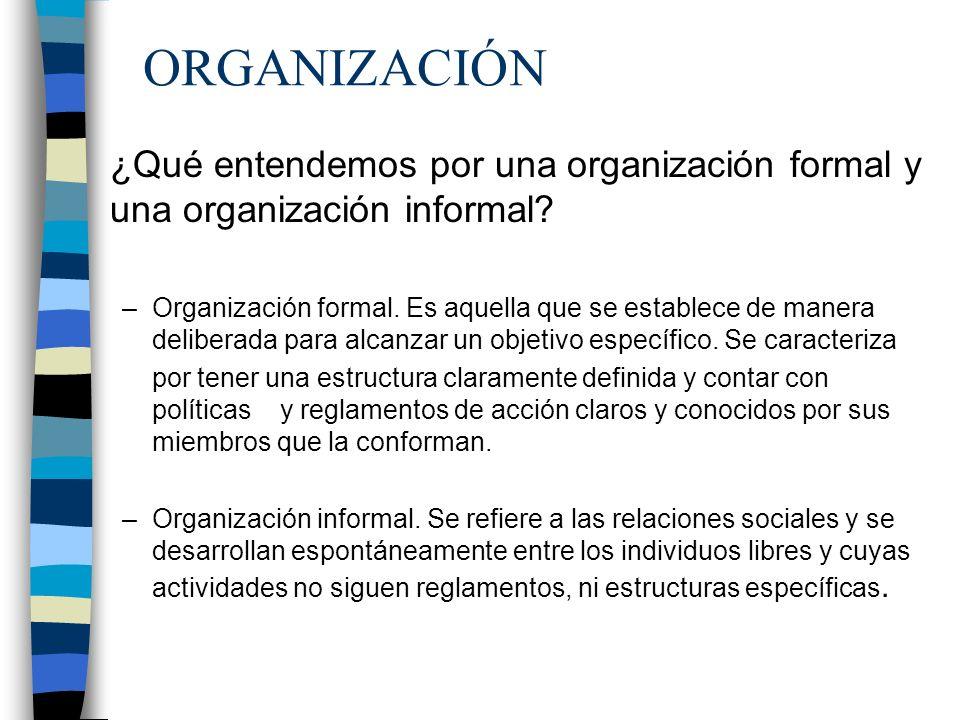 ORGANIZACIÓN ¿Qué entendemos por una organización formal y una organización informal