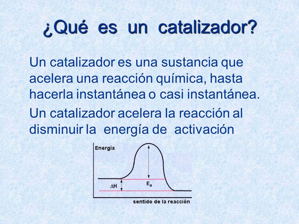 ¿Qué es un catalizador Un catalizador es una sustancia que acelera una reacción química, hasta hacerla instantánea o casi instantánea.