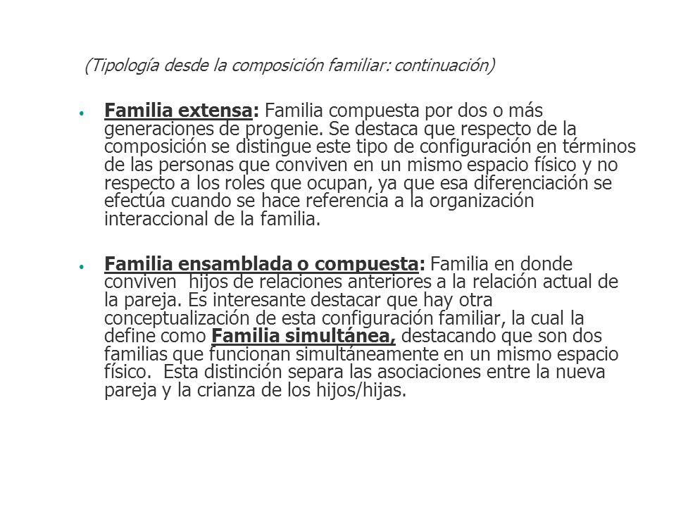 (Tipología desde la composición familiar: continuación)