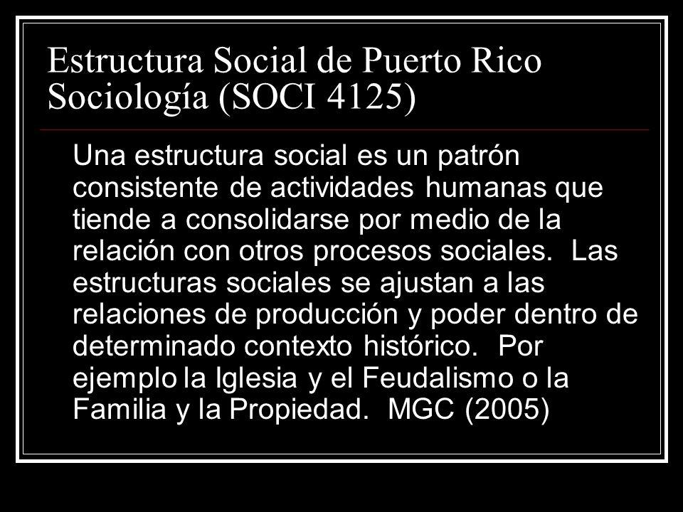Estructura Social de Puerto Rico Sociología (SOCI 4125)