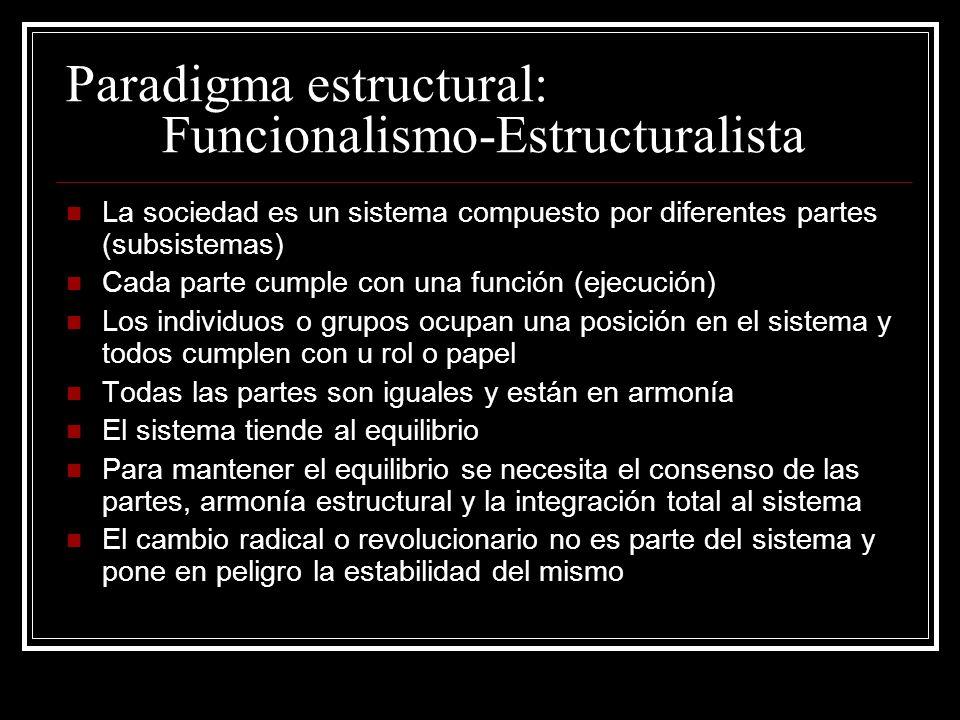Paradigma estructural: Funcionalismo-Estructuralista