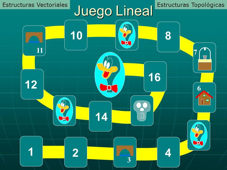 Juego Lineal 10 8 16 12 14 1 2 4 11 7 6 3 Estructuras Vectoriales