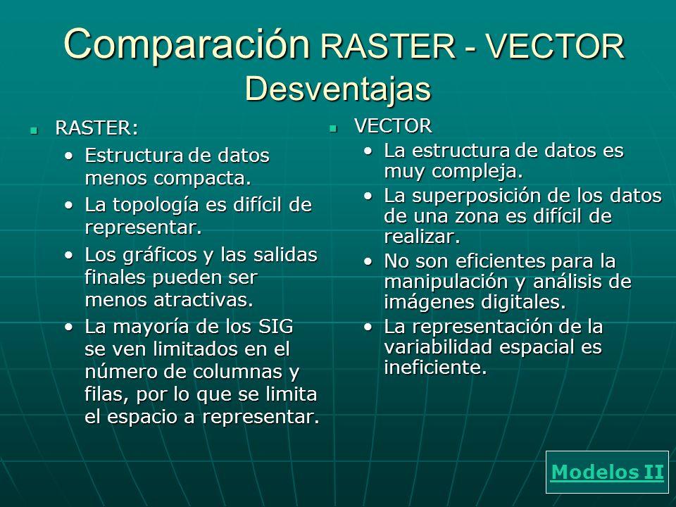 Comparación RASTER - VECTOR Desventajas