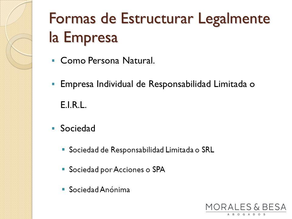 Formas de Estructurar Legalmente la Empresa