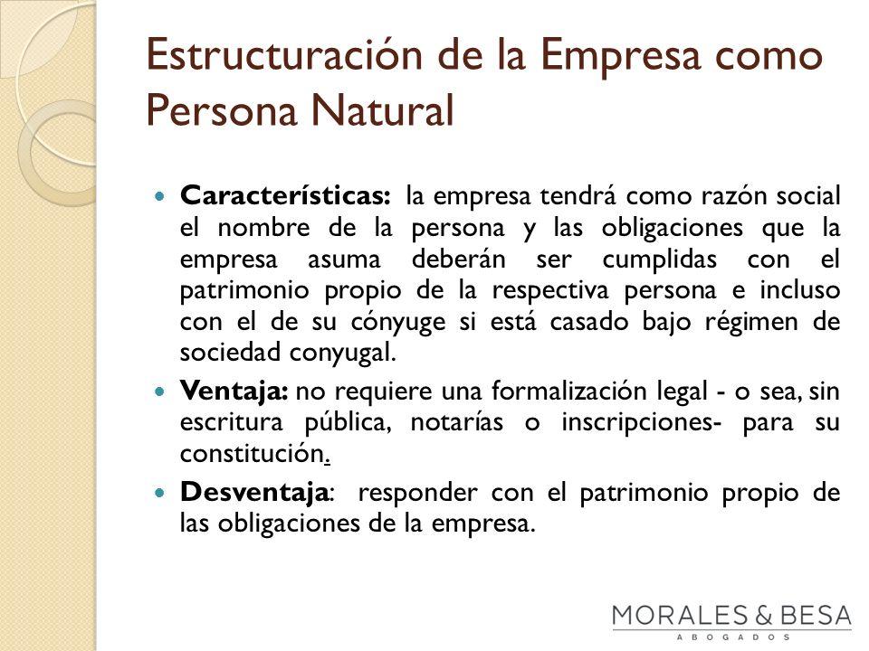 Estructuración de la Empresa como Persona Natural