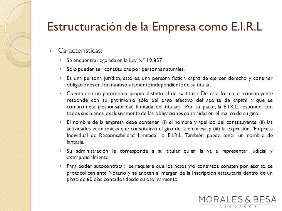 Estructuración de la Empresa como E.I.R.L