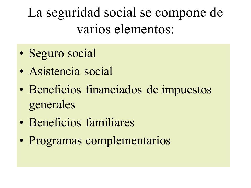 La seguridad social se compone de varios elementos: