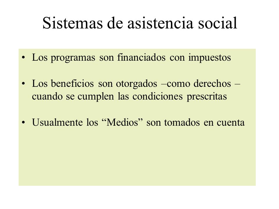 Sistemas de asistencia social