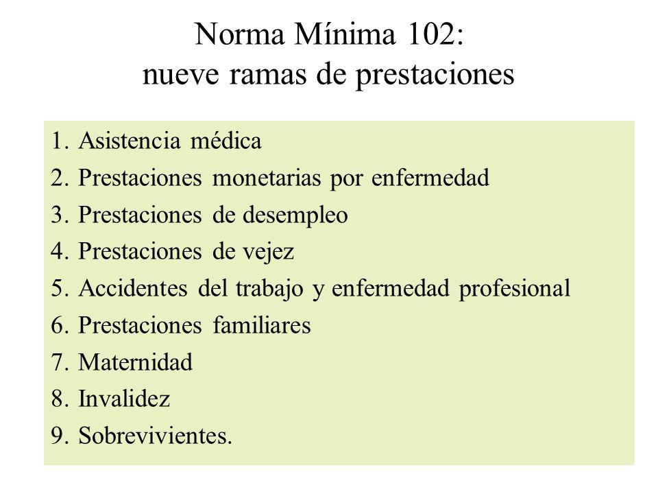 Norma Mínima 102: nueve ramas de prestaciones