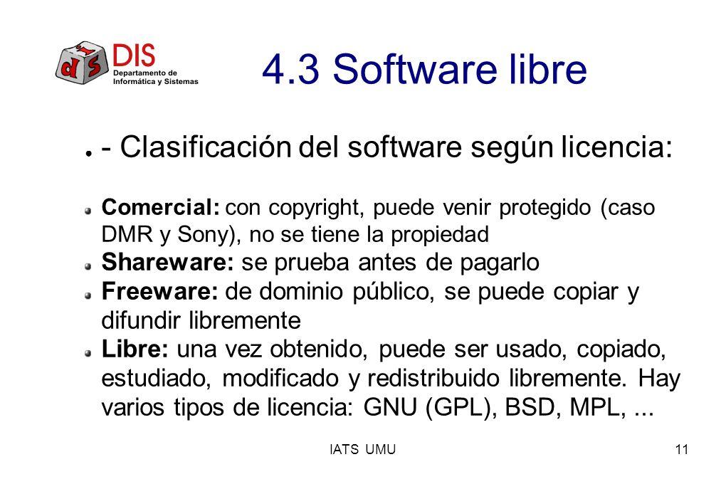 4.3 Software libre - Clasificación del software según licencia:
