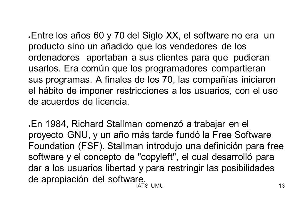 Entre los años 60 y 70 del Siglo XX, el software no era un producto sino un añadido que los vendedores de los ordenadores aportaban a sus clientes para que pudieran usarlos. Era común que los programadores compartieran sus programas. A finales de los 70, las compañías iniciaron el hábito de imponer restricciones a los usuarios, con el uso de acuerdos de licencia.
