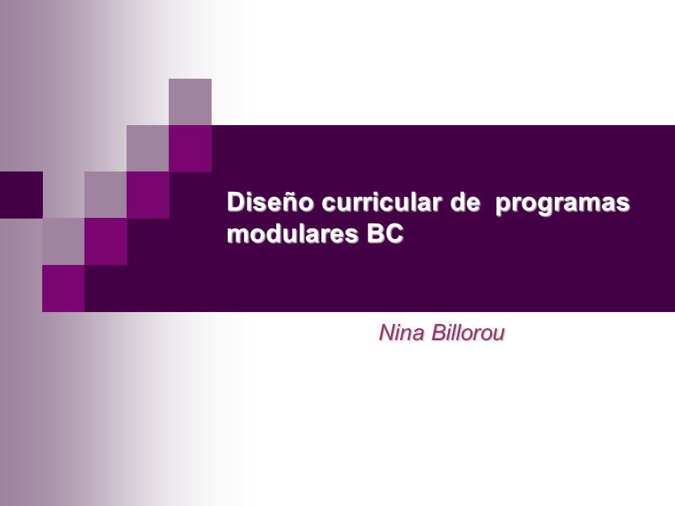 Diseño curricular de programas modulares BC