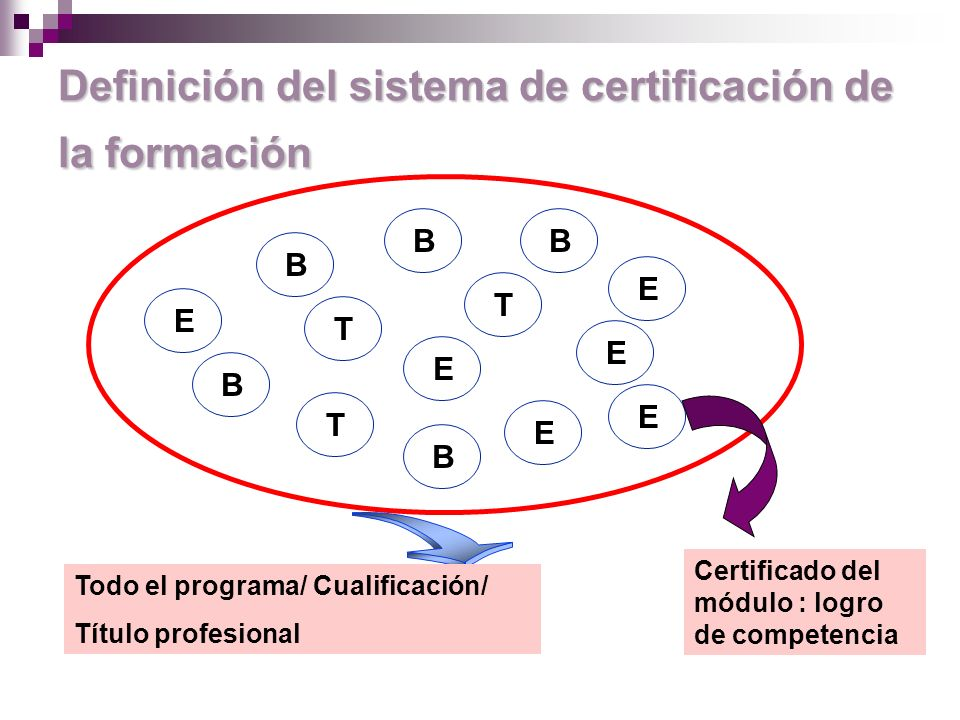 Definición del sistema de certificación de la formación