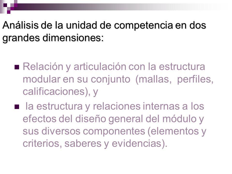Análisis de la unidad de competencia en dos grandes dimensiones: