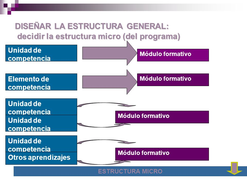 DISEÑAR LA ESTRUCTURA GENERAL: decidir la estructura micro (del programa)
