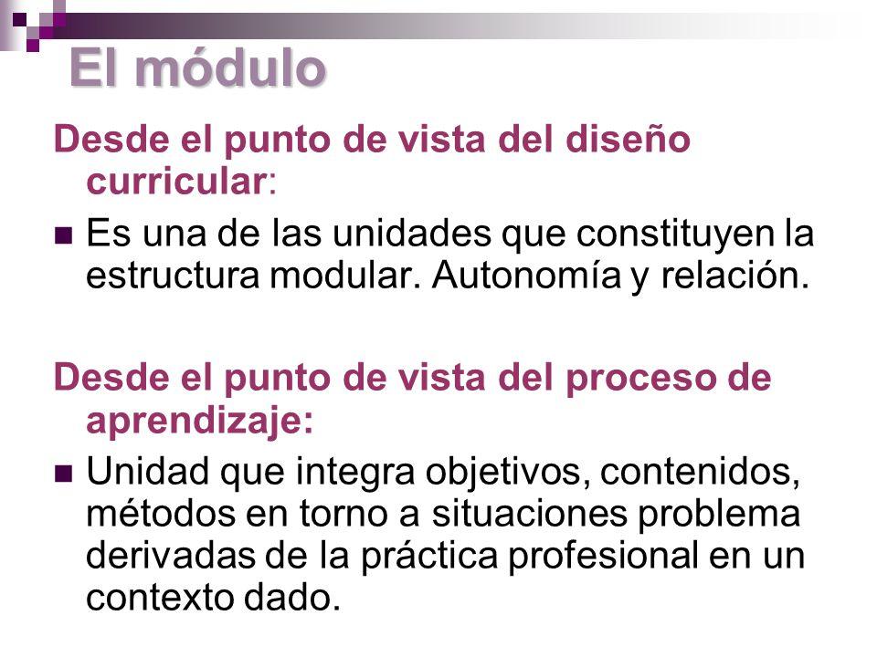 El módulo Desde el punto de vista del diseño curricular: