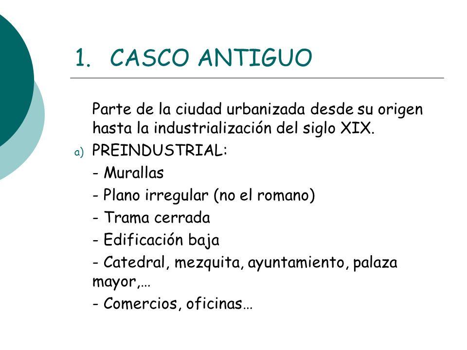 CASCO ANTIGUO Parte de la ciudad urbanizada desde su origen hasta la industrialización del siglo XIX.