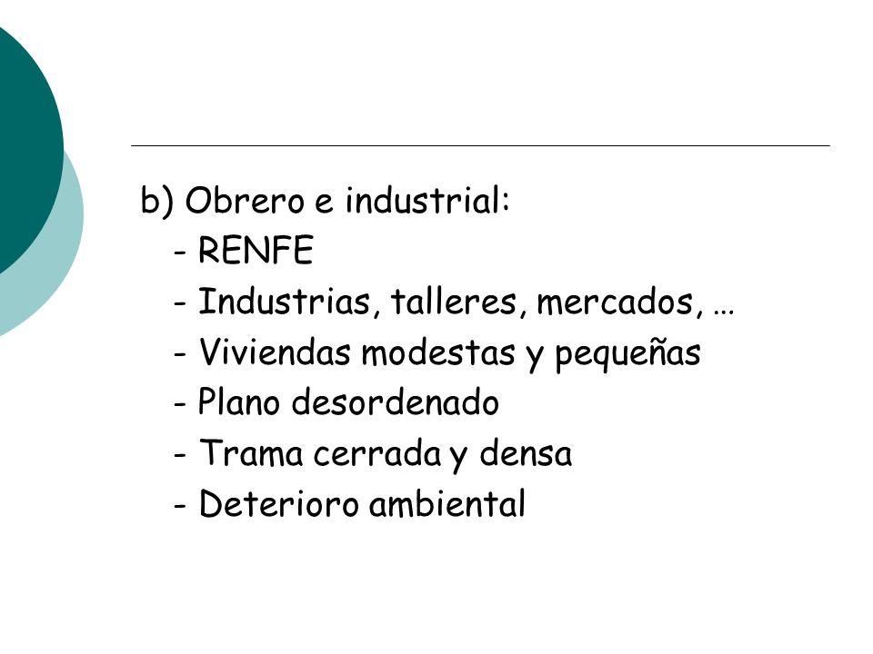 b) Obrero e industrial: - RENFE - Industrias, talleres, mercados, … - Viviendas modestas y pequeñas - Plano desordenado - Trama cerrada y densa - Deterioro ambiental