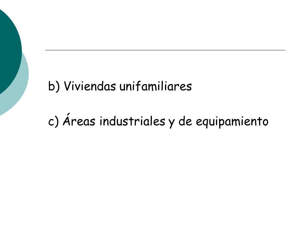b) Viviendas unifamiliares c) Áreas industriales y de equipamiento