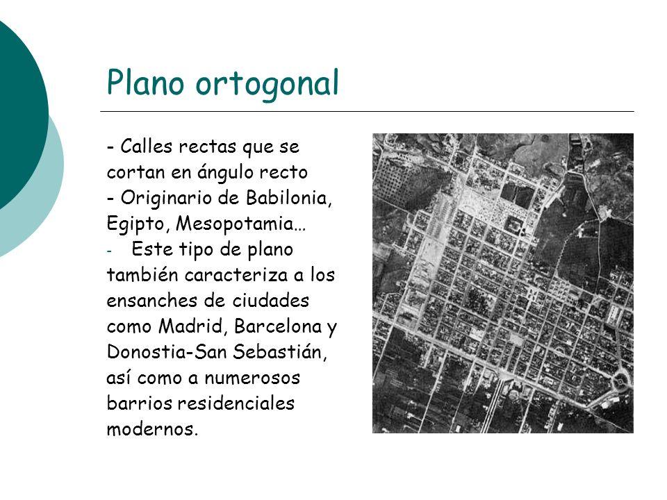 Plano ortogonal - Calles rectas que se cortan en ángulo recto