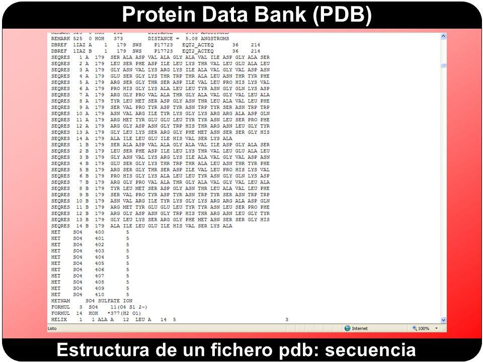 Estructura de un fichero pdb: secuencia