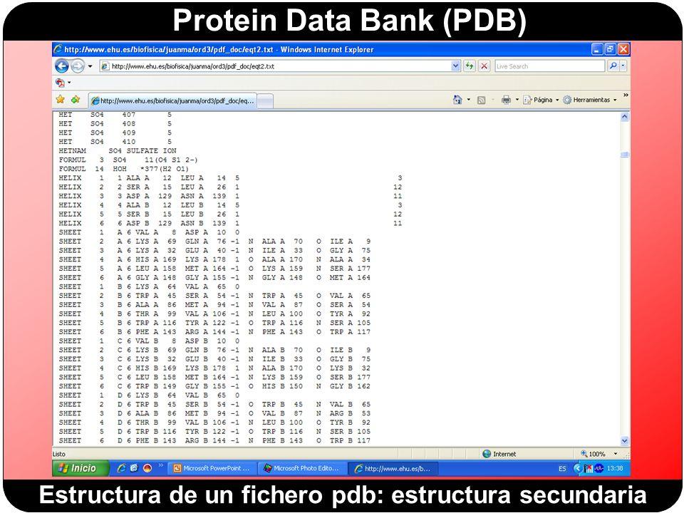 Estructura de un fichero pdb: estructura secundaria