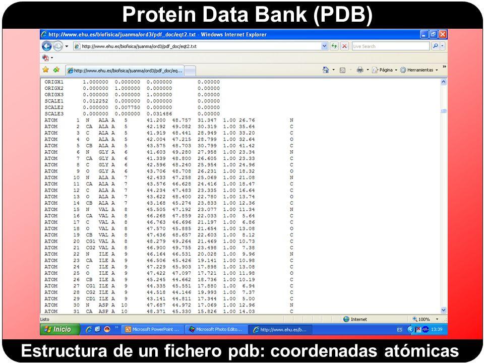 Estructura de un fichero pdb: coordenadas atómicas