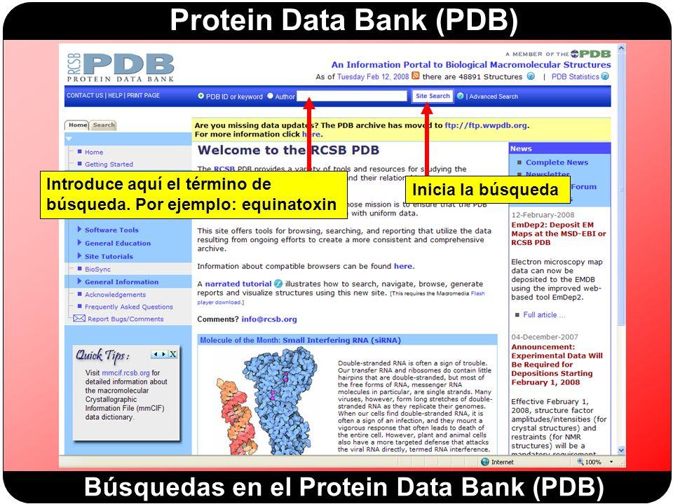Búsquedas en el Protein Data Bank (PDB)