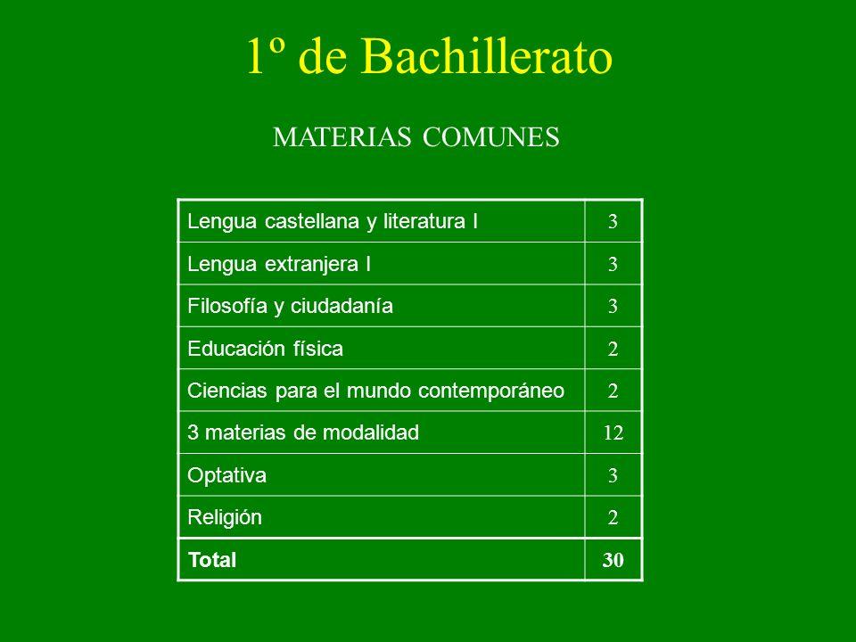 1º de Bachillerato MATERIAS COMUNES Lengua castellana y literatura I 3