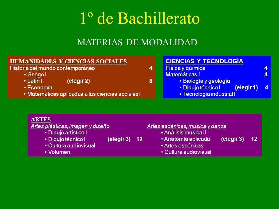 1º de Bachillerato MATERIAS DE MODALIDAD
