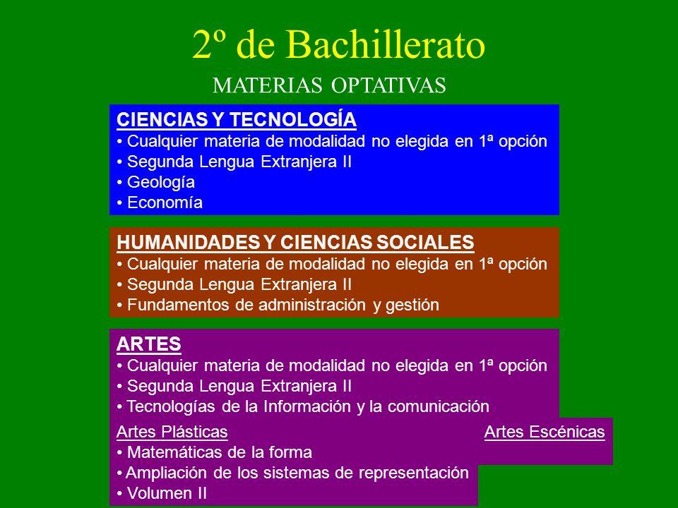 2º de Bachillerato MATERIAS OPTATIVAS CIENCIAS Y TECNOLOGÍA