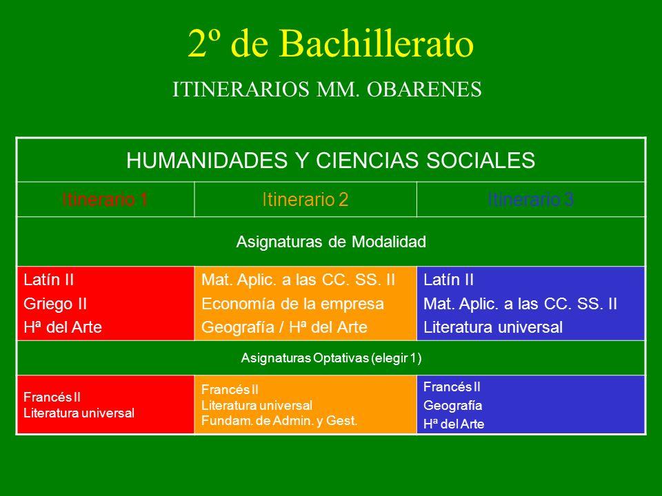 2º de Bachillerato HUMANIDADES Y CIENCIAS SOCIALES
