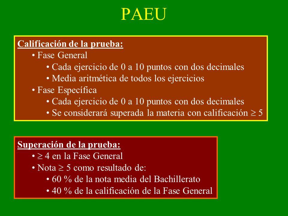 PAEU Calificación de la prueba: Fase General