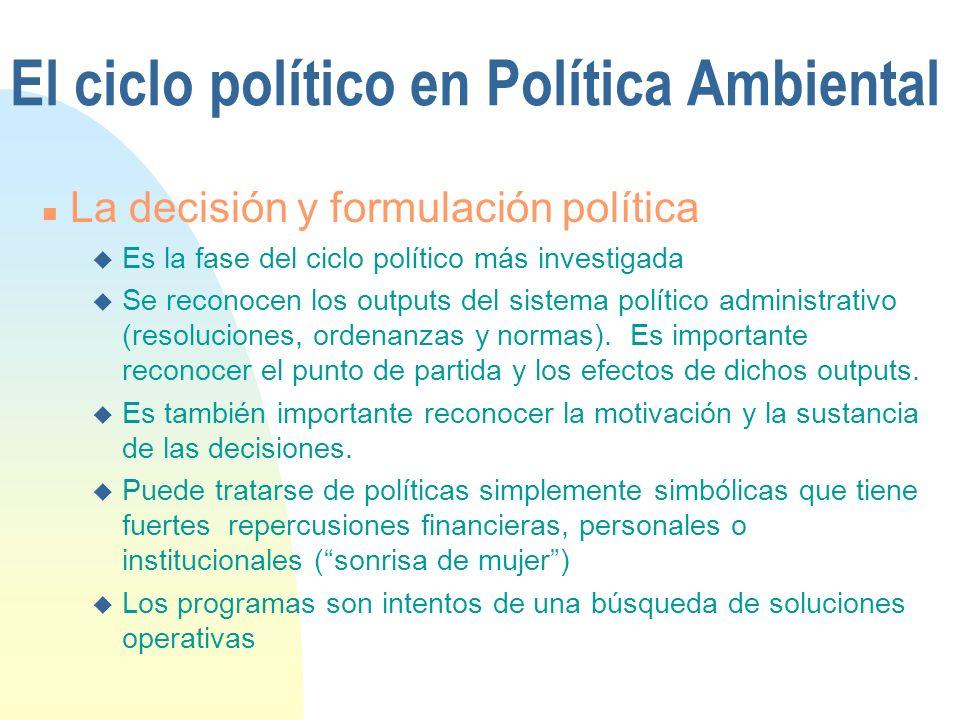 El ciclo político en Política Ambiental