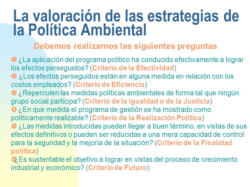 La valoración de las estrategias de la Política Ambiental